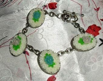 """Rose Cameos Multicolor Violet Purple Blue Bracelet 8.5"""" Antique Silver Chain"""