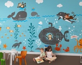 Kids Wall Decals - Underwater world, Whale ,octopus, ocean, dolphin, submerine monkey Wall decal Wall Sticker- Large