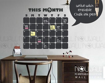 Daily Chalkboard Decal Wall Calendar Memo- Words Office Wall Decal Wall Sticker