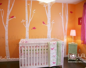 Wall Decal Birch Trees with birds - Art Wall Sticker Tree Decal - 075