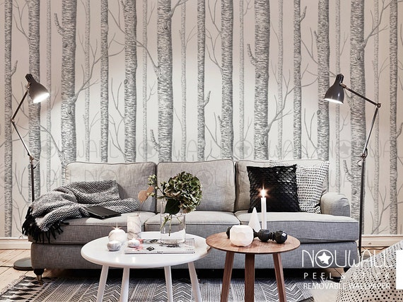 Birch tree peel stick removable wallpaper wall decal - Birch tree wallpaper peel and stick ...
