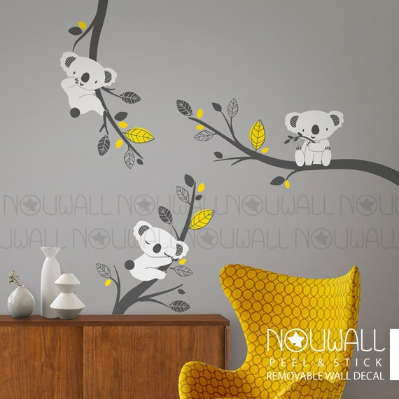 Removable Grey Koala Bear wall decal on branches Animal ,Tree, Kids, Baby Wall Decals - wall stickers
