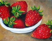 Strawberry Painting, Strawberry, Still Life, Still Life Oil Painting, Strawberries, Fruit Still Life, Small Painting, Helen Eaton