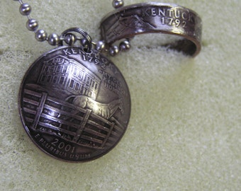 Coin Ring Pendant Kentucky State Quarter Necklace 24  inch steel chain lot