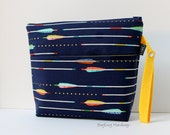 Large Zippered Diaper Clutch / Toddler Bag - Attach to Stroller - Metallic Arrows in Navy with Yellow or Design Your Own