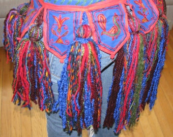 ATS Bellydance Tribal Tassel Belt - Blue Red Rainbow