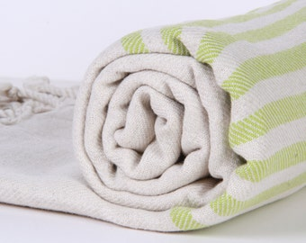 Bath Towel / Beach Towel , Turkish Bath Towel...Linen - Cotton PESHTEMAL Cream-Green