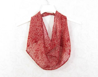 Red Scarf Cotton Scarf Infinity Scarf Sari Scarf Summer Scarf Spring Scarf Circle Scarf Lightweight Scarf Upcycled Scarf Eco Fashion OOAK