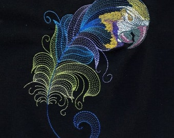 BIRDS OF A FEATHER #3 -Machine Embroidered Quilt Block AzEB