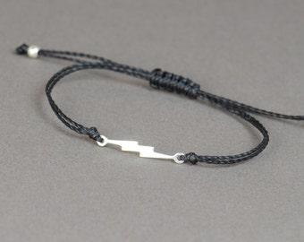 Sterling silver Sideways Lightning bolt  bracelet