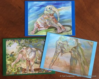 Rescued elephants postcard set - signed!
