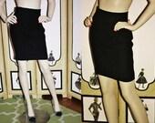 1990's High Waisted Black Wool Pencil Mini Skirt. Small.