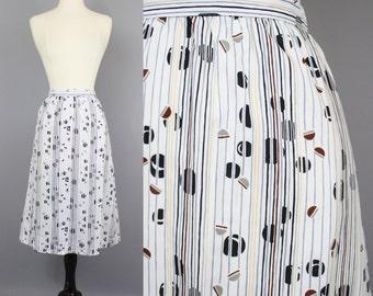 vintage 80s Coffee Bean Skirt / 1980s Striped Abstract Print Slim Midi Skirt / Small