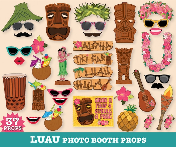 Hawaiian LUAU Photo Booth Props Luau Props Tropical Wedding