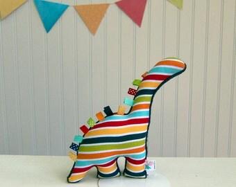 Plush Dinosaur Stuffed Animal Baby Boy Stripes Red Teal Navy Green