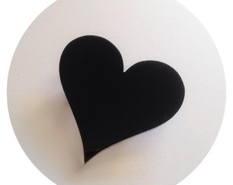 Heart Pin Brooch, Statement Jewelry in Black Acrylic, Gift for Her, Gift for Valentines Day