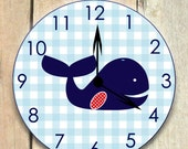 whale clock nautical nursery nautical clock gingham whale wooden whale children's clock whale nursery boy's clock cottage decor room decor