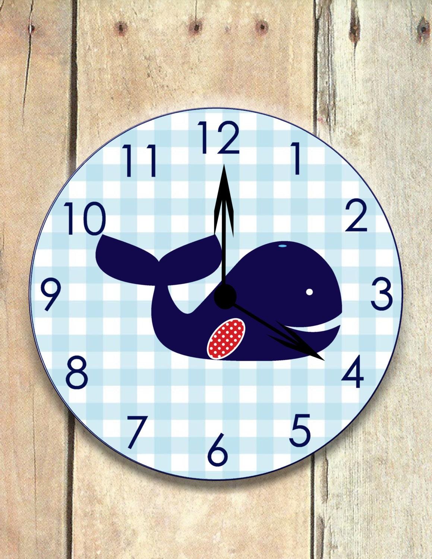 Anchor clock nautical nursery wooden clock nautical clock whale clock nautical nursery nautical clock gingham whale wooden whale childrens clock whale nursery boys clock amipublicfo Images