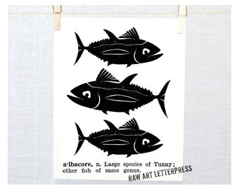 Fish Print, Albacore, Beach Cottage Decor, Dictionary, Nautical Theme, Ocean Art, Beach, Nursery art, Fish drawing, Black, ocean theme
