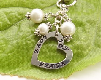 Stamped Joy, Love, Peace heart bag or purse charm