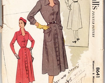 Vintage 1951 McCall's 8641 Sewing Pattern Women's Dress Size 42 Bust 42