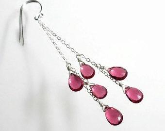 Pink Drop Earring Long Pink Earrings Pink Briolette Earrings Pink Cascade Earring