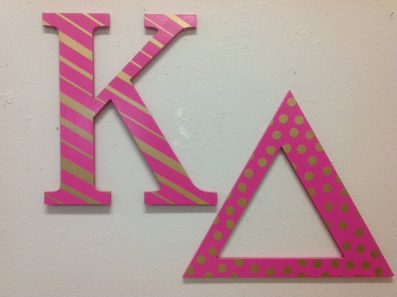 kappa delta large greek letters hand painted sorority