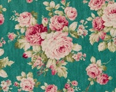Cosmo Cotton Fabric KP9039-1B Cabbage Rose on Teal
