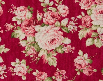Cosmo Cotton Fabric KP9039-1C Cabbage Rose on Red