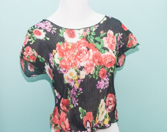 Vintage 90s Floral Sheer Black Crop Top