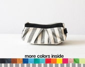 Accessory bag striped cotton and leather, makeup bag cosmetic case baby shower gift travel zipper case- Estia Bag