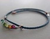 Rainbow arch chocker necklace with round rainbow colors quartz stones on navy blue braided leather - Copper necklace - Leather necklace