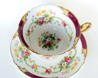 Vintage Shelley Bone China Cup&Saucer,England,Maroon Dubarry,Footed,Gold Trims,Floral,1930s,Dining Serving,Tea/coffee/,Gainsborough Shape
