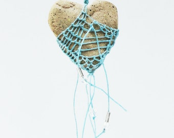 Turquoise Heart Shaped Necklace, Faux Stone Pottery and Fiber, Turquoise Blue, Waxed Linen, As seen in Belle Armoire Jewelry, Aquamarine