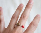SALE Leather and Brass ring - size 9