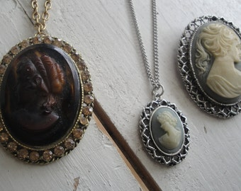 Vintage Cameo Brooch and Necklace Set