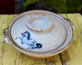 Japanese Earthenware Donabe Casserole Pot - Vintage - Pottery - Made in Japan - Horse - Cooking - Serving - Kitchen - Asian Decor