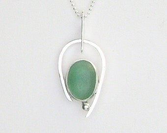 Sea Glass Jewelry - Sterling Teal Sea Glass Necklace