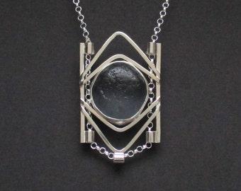 Sea Glass Jewelry - Sterling Rare Dark Gray Sea Glass Necklace