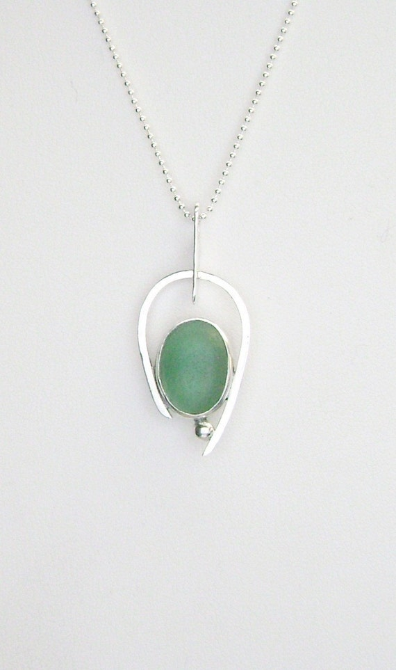 sea glass jewelry sterling teal sea glass necklace