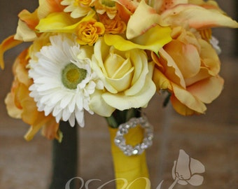 Mustard Yellow and White Wedding Bouquet and Boutonniere Set