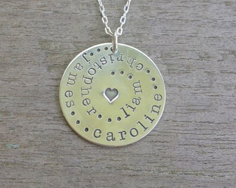 the family circle personalized sterling silver charm necklace