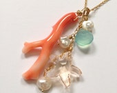 Gold Fill Necklace with Natural SALMON Coral Branch, Starfish, Chalcedony, Freshwater Pearls (Style 3921)