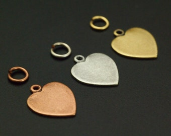 SALE - 12 Small Textured Heart Charm Blanks - You Pick Finish - 11mm X 10mm - Perfect for Stamping -  Handmade Jump Rings - 100% Guarantee