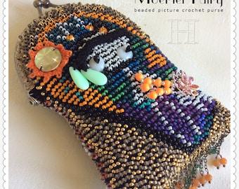 Moertel Fairy Purse - Beaded Crochet, beaded picture crochet purse, crochet purse, melanie moertel, moertel crochet purse, moertel fairy