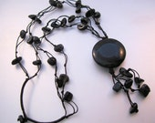 Vintage Hand Made Black Onyx Multi Strand String Tassel Necklace Jewelry Jewellery