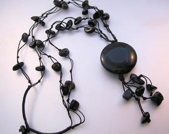 Vintage Hand Made Black Onyx Multi Strand String Tassel Necklace Jewelry Jewellery