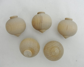 Wooden turned ornament, diy wooden ornament, paint your own ornament, set of 5