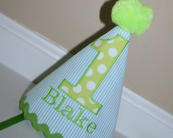 first birthday outfit for baby boys, aqua blue pinstripe seersucker and lime green, boy tie, diaper cover 1st birthday, cake smash set