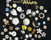 Large Lot of Broken Vintage Jewelry - Brooches, Earrings and Necklace pieces